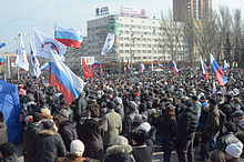 Pro-Russian protesters in Donetsk, March 8 2014