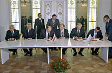 Signing of the agreement to establish the Commonwealth of Independent States (CIS), December 8, 1991