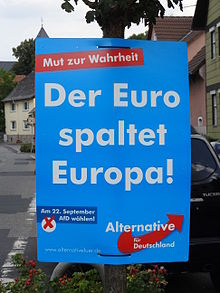 "Former ""Mut zur Wahrheit! The Euro splits Europe"" tagline on Alternative for German election placard"
