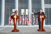 US Secretary of State Condoleezza Rice and President of Georgia Mikheil Saakashvili at a Tbilisi press conference, August 2008