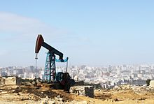 A pumping unit for the mechanical extraction of oil on the outskirts of Baku, Azerbaijin