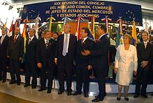 """Castro with South American leaders of the Mercosur trade bloc. In the 2000s Castro forged alliances in the Latin American which became known as the leftist """"pink tide""""."""