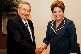 Former Brazilian President Rousseff with Raul Castro.